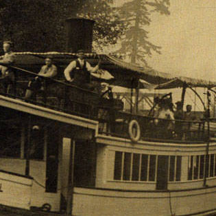 Steamer City of Bothell on the Squak (Sammamish) Slough between Lake Sammamish and Lake Washington, ca. 1910. Courtesy Bothell Historical Museum, 921