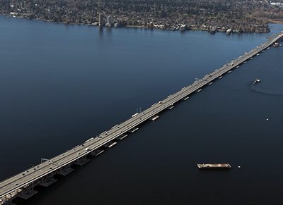 This aerial of the bridge, taken in May 2017, shows the SR 520 corridor from the new SR 520 bridge to construction of the SR 520 West Approach Bridge North project which is expected to open to drivers in late summer 2017.