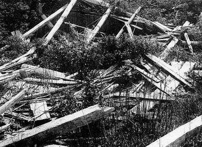 Indian community house on the Washington coast, in ruins in 1910.