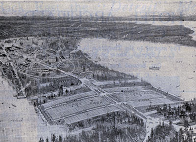 Advertisement for Montlake Park Addition, 1909, nestled between the Canal Reserve and the planned Lake Washington Ship Canal. The University Extension of Lake Washington Boulevard (later Montlake Boulevard), designed by John Charles Olmsted, crossed the subdivision and ended at the south entrance to the Alaska-Yukon-Pacific Exposition on the University of Washington campus. The boulevard also provided a route for the new streetcar lines that connected the area to downtown. From 1909 Moore Theater program, UW, Digital ID Number ADV0232