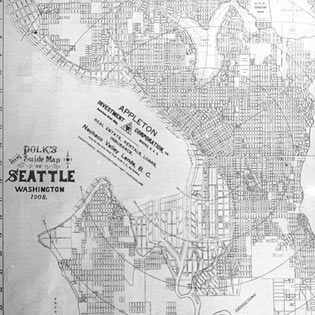 R. L. Polk and Company map of subdivisions platted in Seattle by 1908. The map also shows planned development for the Seattle shorelines and the original, meandering channel of the Duwamish River. Courtesy of the Frances Loeb Library, Graduate School of Design, Harvard University.