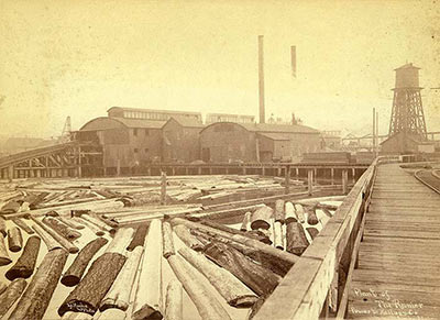 Western Mill Company, site of the first sawmill on Lake Union, ca. 1891. Photo by Frank La Roche. Courtesy UW Special Collections, La Roche 10046.